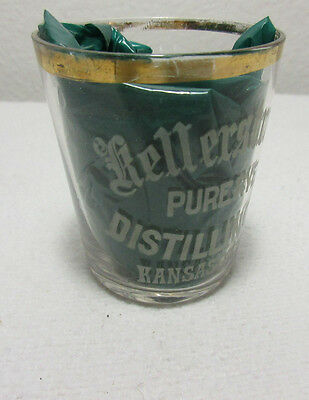 Kellerstrass Rye Distilling Co. Kansas City, Mo Shot Glass 1900 - 1916 Whiskey