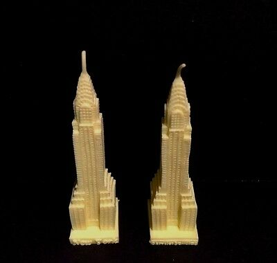 Chrysler Building Candles Set 2 Yellow 3 Inch NYC Tourist Skyscraper Big Apple