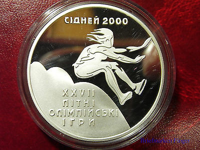 1999 Ukraine 10 UAH PROOF 1 OZ Silver Sydney Olympic Long  Jump