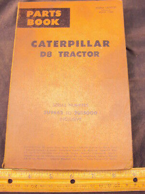 1965 CAT Caterpillar D8 Tractor Parts Manual Book ORIG