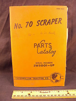 1951 51 CAT Caterpillar Number 70 Scraper Parts Manual Book
