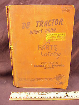 1962 CAT Caterpillar D8 Tractor Direct Drive Parts Manual Book