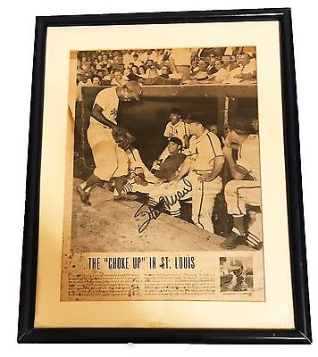 Stan Musial Mlb Hand Signed Autographed Newspaper Article Photo Framed W/coa