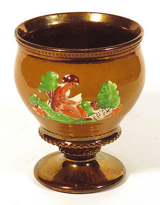 1800s Antique COPPER LUSTER GOBLET Cup Footed Bowl READING MAN & DALMATIAN DOG