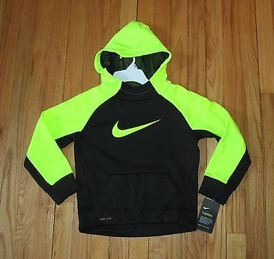 Nike Boys Black Neon Yellow Therma Dri-Fit Hoodie Jacket 3T, 4, 6 NWT