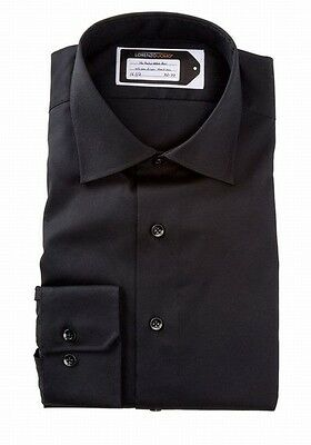 Lorenzo Uomo NEW Black Solid Mens Size 15 1/2 Button Front Dress Shirt $98 #407