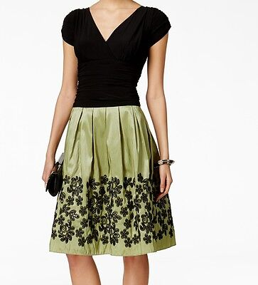 SLNY NEW Green Black Women's Size 8 Pleated Embroidered Skirt Dress $109 #186