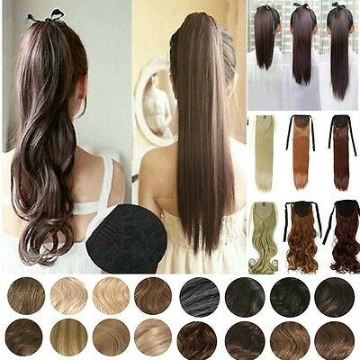 Pretty Drawstring Ponytail Clip in Hair Extensions 18/22inch Real Thick Long DF4