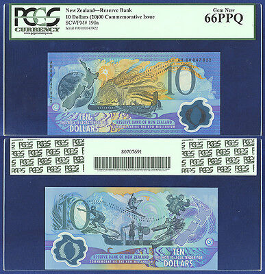 New Zealand 10 Dollars Y2K Commemorative 2000 Pcgs Gem New 66 Ppq