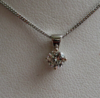 Brand New .30ct Diamond Solitaire 9ct White Gold Pendant & Chain £250 freepost