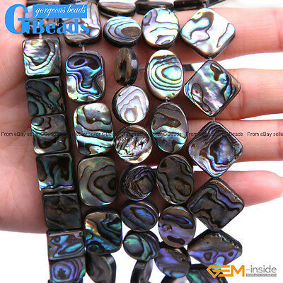 Natural Assorted Shapes Abalone Shell Flatback Beads For Jewellery Making 15""