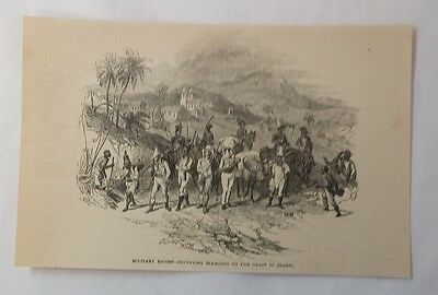 1876 magazine engraving ~ MILITARY ESCORTING DIAMONDS, Brazil