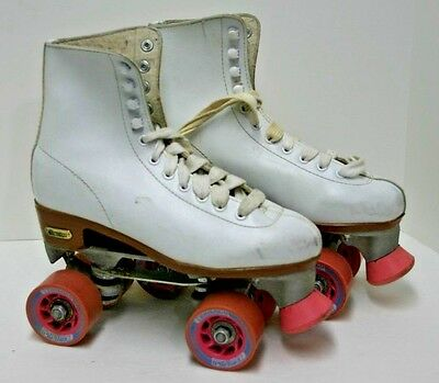 Womens Chicago Roller Skates Indoor Leather Boots Ball Bearing Wheels Size 7