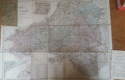 Bacon's Map of South Wales Circa 1890-1900 Large Scale Map & Cyclists Guide