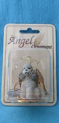 GRAY  POODLE DOG ANGEL ORNAMENT Resin Figurine NEW