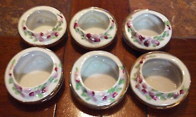 Lot Of 6 Hand Painted & Matching Butter Crocks/ Pats