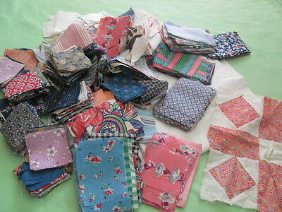Large lot cut squares triangles for Garden Eden blocks 1930's some feed sack