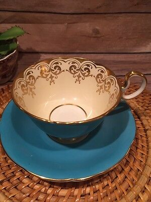 Aynsley Bone China Turquoise And Pale Yellow Gold  Tea Cup and Saucer