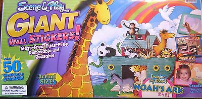 Brand New in Box- 50 Noah's Ark Wall Stickers- Reusable- Rare and Hard to Find