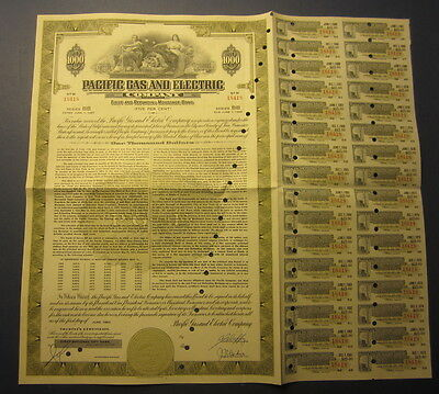 Old 1957 - PG&E - PACIFIC GAS & ELECTRIC COMPANY - BOND Certificate
