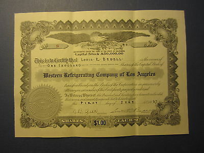 Old 1927 WESTERN REFRIGERATING CO. of LOS ANGELES - Stock Certificate - CA.