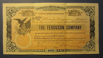 Old 1909 - The FERGUSON COMPANY - Stock Certificate - LOS ANGELES CA.