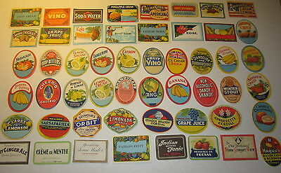 Lot of 52 Old 1910's-30's - English SODA & FRUIT DRINK - LABELS - Duckworth