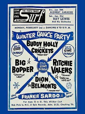 """Buddy Holly Winter Dance Party Surf Ballroom 16 x 12"""" Photo Repro Concert Poster"""