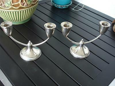 Pair of Vintage Duchin Creation 2 Arm Sterling Silver Candle Holders Candlestick