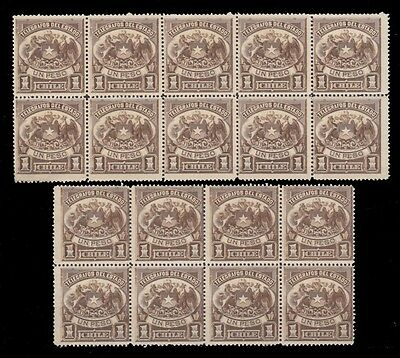 1891 Chile Telegraph Stamps Value 1 Peso Braun Block Of 10 + 8 Mint Nh