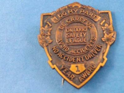 1938 Ontario Safety League Safe Driver Award 3 Year No Accident Vintage Pin Back