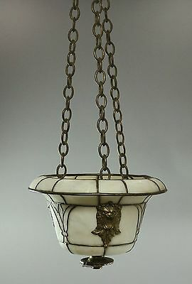 Antique Leaded Glass Figural Hall Pendant Shade