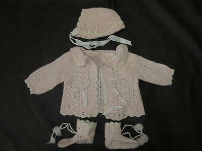 Vtg 50s Child BABY DOLL PINK HAND KNIT CROCHET Roses Sweater Bonnet Hat Booties