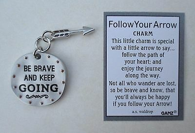 k Be brave and keep going FOLLOW YOUR ARROW Pocket Charm token Ganz courage