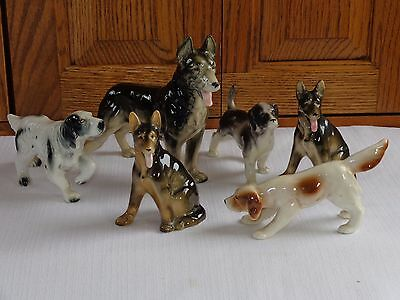 6 Vintage Occupied And Japan Dog Figurines German Shepherd Ect.