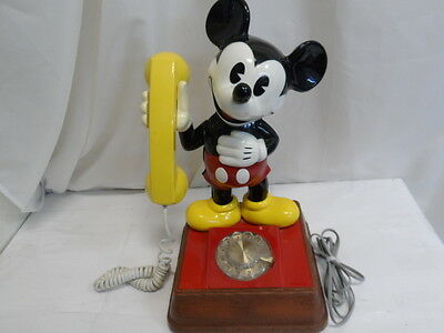 """Vintage Disney Mickey Mouse Rotary Dial Telephone Phone 1976 15"""" Tall (9161-2)"""