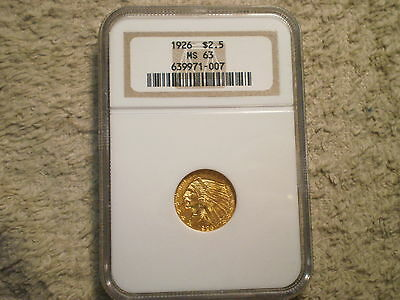 1926 $2 1/2 Indian Gold Ms63 Ngc