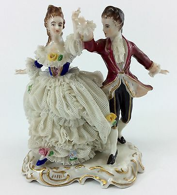 MULLER VOLKSTEDT DRESDEN Antique LACE FIGURINE Germany DANCING COUPLE Man Woman