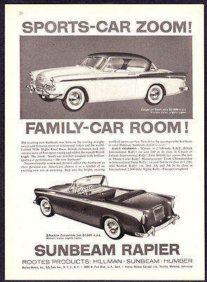 "1958 Sunbeam Coupe de Sport & Convertible photo ""Room & Zoom"" promo car print ad"