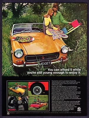 """1971 MG Midget Convertible photo """"The Lowest Price for the Real Thing"""" print ad"""