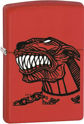 Zippo Pit Bull, Chained Collar Red Matte WindProof Lighter NEW RARE