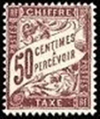 "FRANCE STAMP TIMBRE TAXE N° 37 "" TYPE DUVAL 50c LILAS "" NEUF x TB"