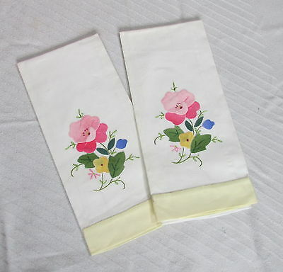 Vintage White Cotton Linen Hand Towels Appliqued Pink Pansy Flowers Embroidered