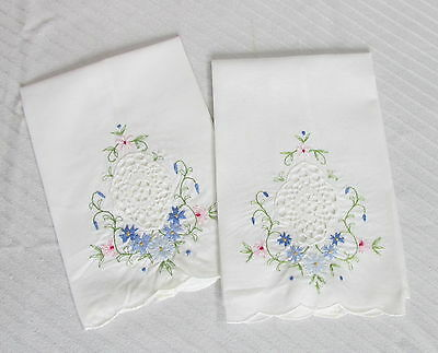 Vintage White Cotton Linen Hand Towels Embroidered Blue Flowers & Crocheted Lace