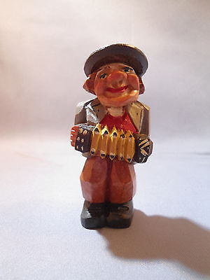 Vtg German ? Hand Carved and Painted Wooden Musician Playing Accordion Figurine