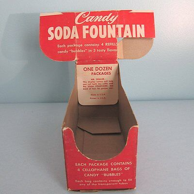 Soda Fountain CANDY Container Original Display Box for Dozen Refill Pack Vintage