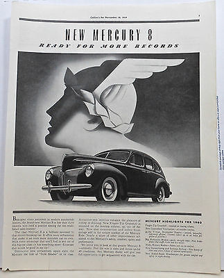 1939 magazine ad for Mercury - 1940 Mercury 8 Ready for more Records