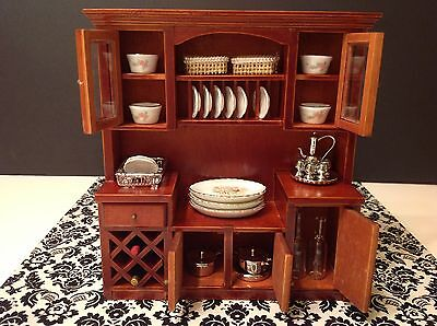 Dollhouse Miniature Furniture Mahogany Wood Wine Shelf Cabinet 1:12 (no items)