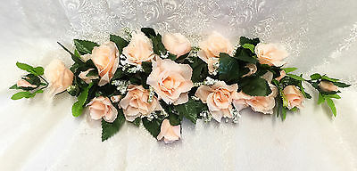LIGHT PEACH SWAG ~ Silk Wedding Flowers Roses Arch Chuppah Decor Centerpieces