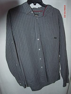 Nwt size xl 3rd Army gray stripe button front long sleeve men shirt